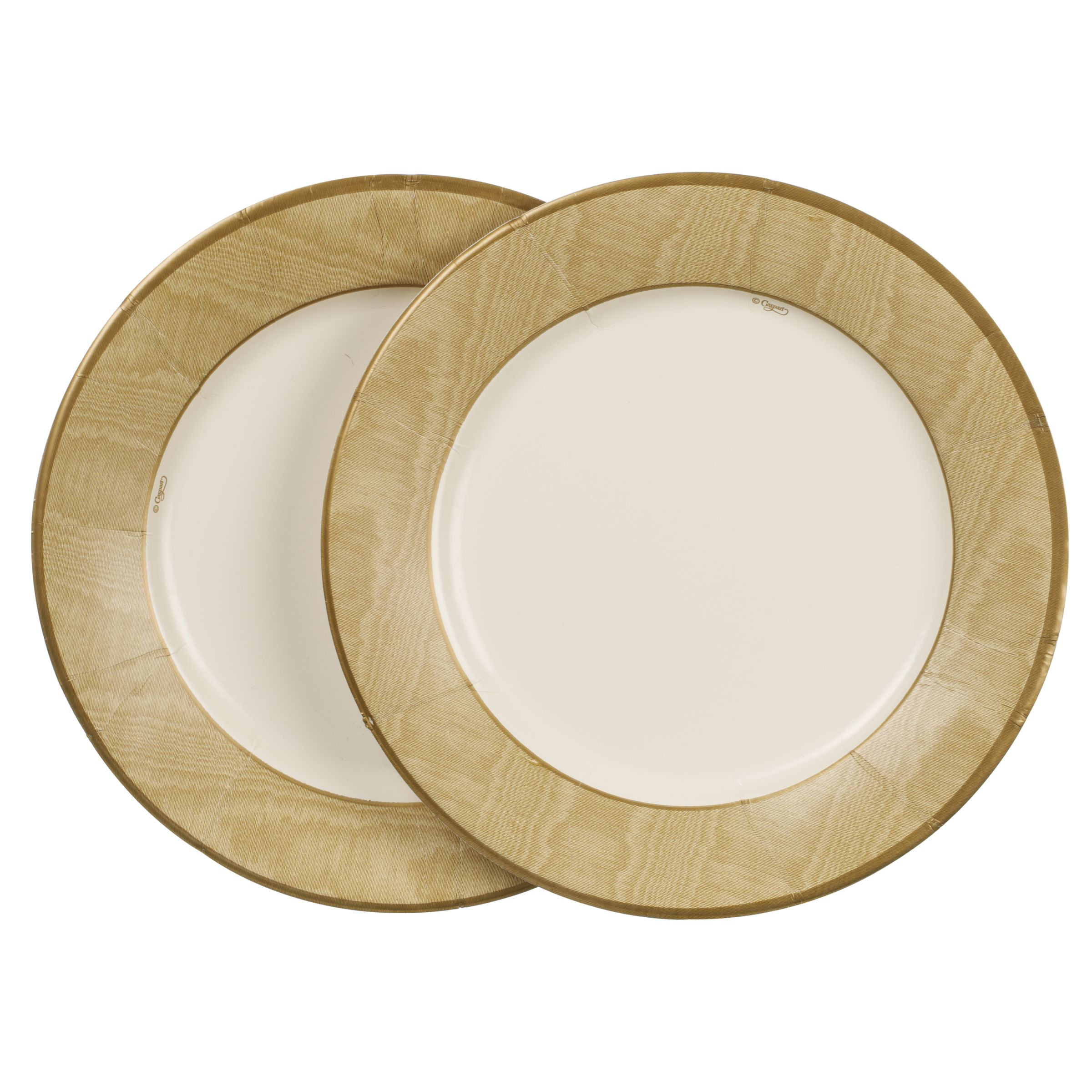 Caspari Paper Plates, Pack of 8, Gold Moire