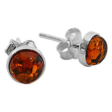 Buy Goldmajor Sterling Silver Amber Stud Earrings, Cognac Online at johnlewis.com