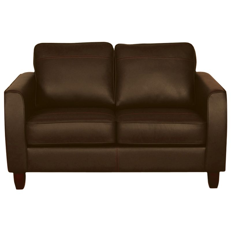 John Lewis Portia Leather Small Sofa with Dark Legs, Earth