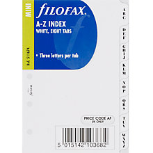 Buy Filofax Mini Inserts, White A-Z Index Online at johnlewis.com