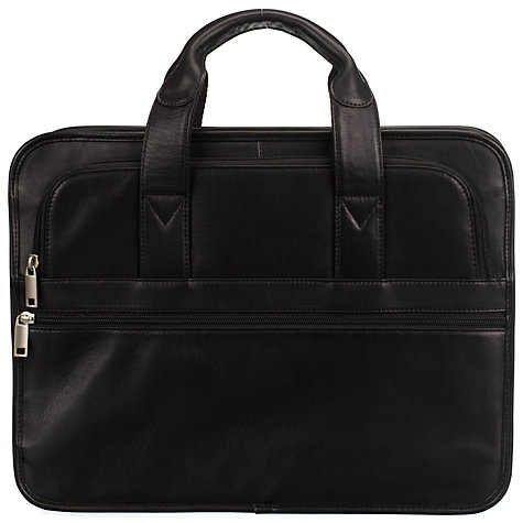 Buy John Lewis New Detroit Leather Laptop Briefcase, Black Online at johnlewis.com