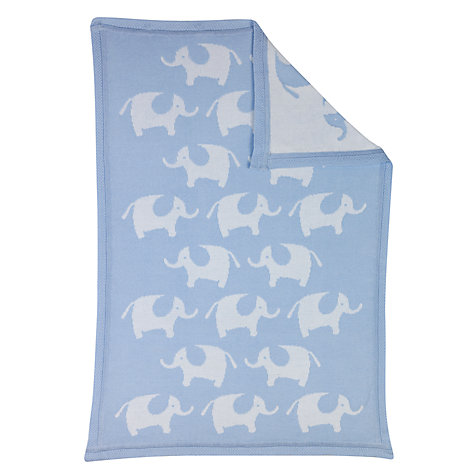 Buy John Lewis Baby Elephant Pram Blanket, Blue Online at johnlewis.com