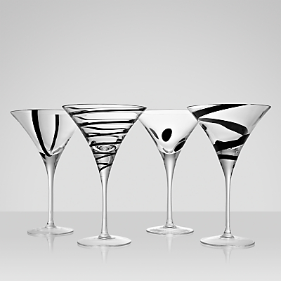 LSA International Jazz Cocktail Glasses, Set of 4, Black