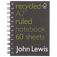 Buy John Lewis FSC Recycled Notebook, A7 Online at johnlewis.com