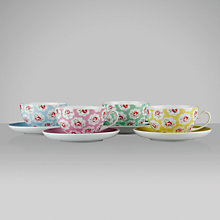 Buy Cath Kidston Cups and Saucers, Provence Rose, Set of 4 Online at johnlewis.com