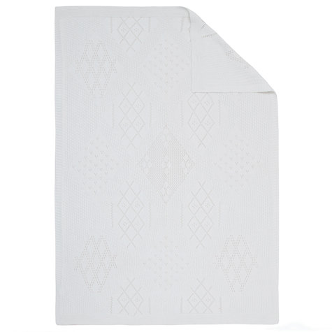 Buy John Lewis Diamond Patches Pram Baby Blanket, White Online at johnlewis.com