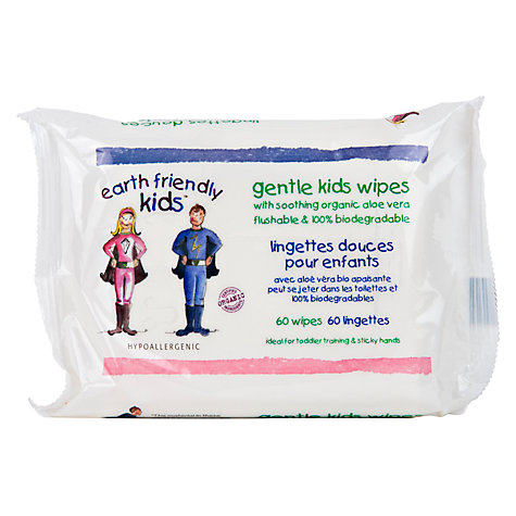 Buy Earth Friendly Kids Flushable and Biodegradable Baby Wipes, Pack of 60 Online at johnlewis.com