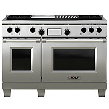 Buy Wolf ICBDF484CG Dual Fuel Range Cooker, Stainless Steel Online at johnlewis.com