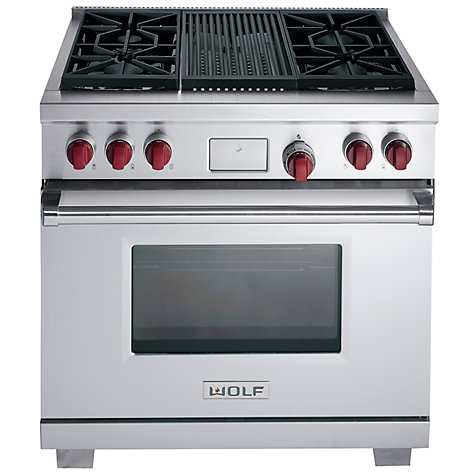 Buy Wolf ICBDF364C Dual Fuel Range Cooker, Stainless Steel Online at johnlewis.com