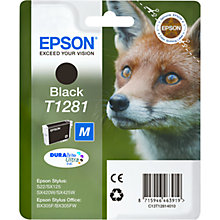 Buy Epson T1281 Fox Inkjet Printer Cartridge, Black Online at johnlewis.com