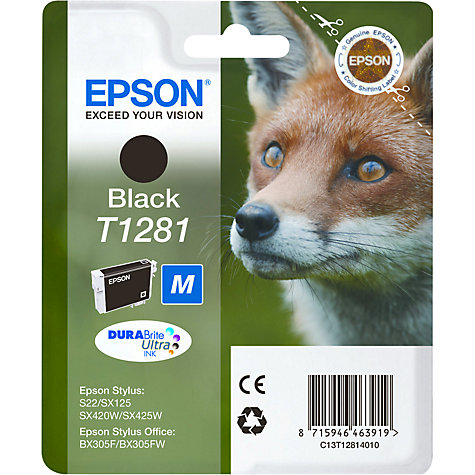 Buy Epson T1281 Inkjet Printer Cartridge, Black Online at johnlewis.com