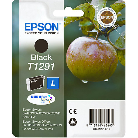 Buy Epson T1291 Inkjet Printer Cartridge, Black Online at johnlewis.com