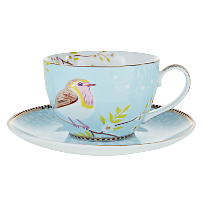 PiP Studio Cappuccino Cup and Saucer, Blue, Set of 4