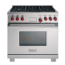 Buy Wolf ICBDF366 Dual Fuel Range Cooker, Stainless Steel Online at johnlewis.com