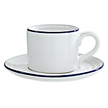 Buy John Lewis Coastal Espresso Cup and Saucer, White/ Blue Online at johnlewis.com