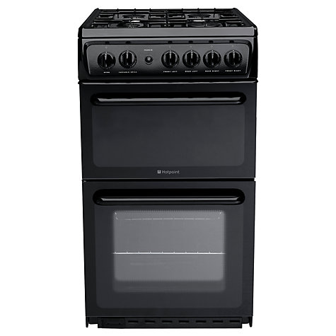 buy hotpoint hag51k gas cooker black john lewis. Black Bedroom Furniture Sets. Home Design Ideas