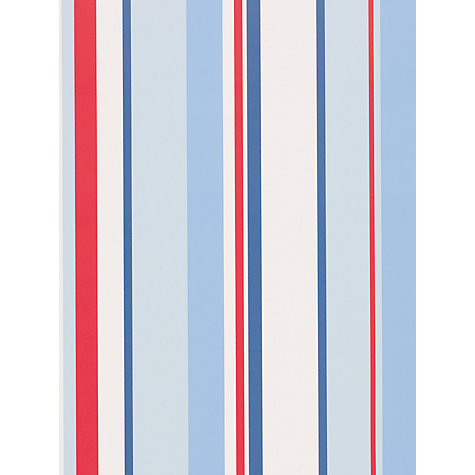 Buy little home at John Lewis, Finlay Stripe Wallpaper, Blue/Multi Online at johnlewis.com