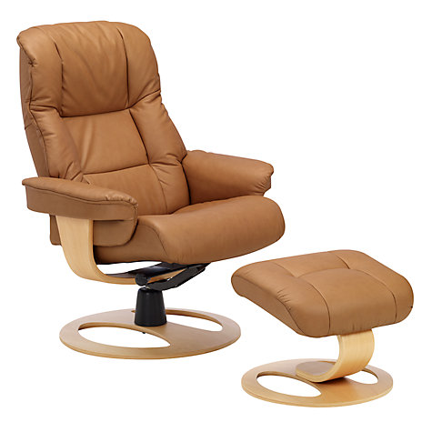 Buy John Lewis Stockholm Reclining Armchair and Footstool, Sandel Natural Online at johnlewis.com