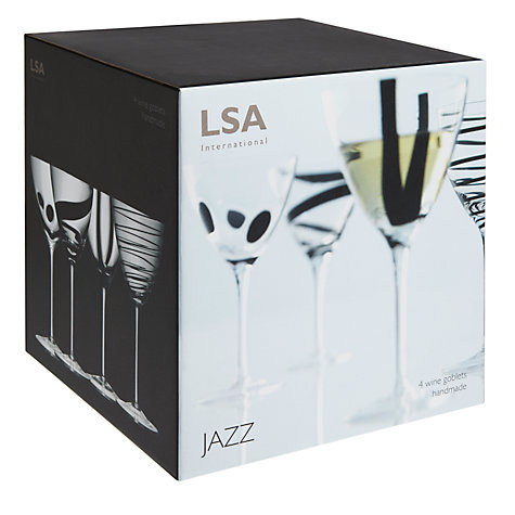 Buy LSA Jazz Goblets, Box of 4, Black Online at johnlewis.com