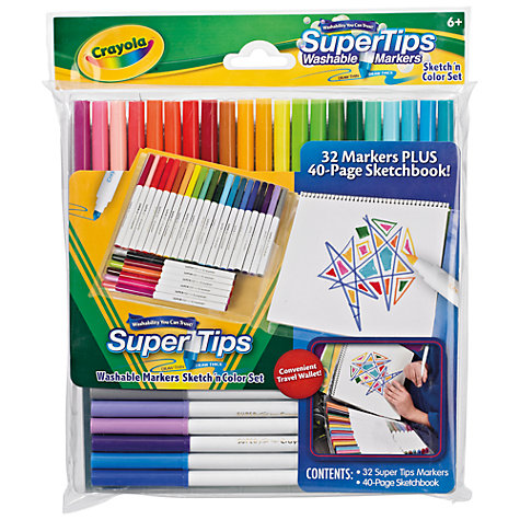 Buy Crayola Super Tips Markers and Sketchbook Online at johnlewis.com
