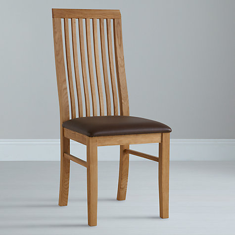 Buy John Lewis Henry Dining Chair Leather Seat, Dark Brown132 Online at johnlewis.com