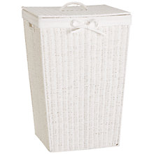 Buy John Lewis Rope Square Linen Bin, White Online at johnlewis.com