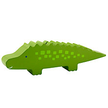 Buy Pearhead Wooden Crocodile Money Box, Green Online at johnlewis.com
