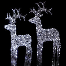 Buy John Lewis Outdoor LED Standing Reindeer Light, White, Large Online at johnlewis.com