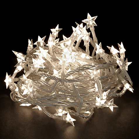 Buy John Lewis Indoor LED Moulded Star Christmas Line Lights, x80, White Online at johnlewis.com