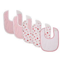 Buy John Lewis Baby Jersey Bibs, Pack of 5, Pink Online at johnlewis.com