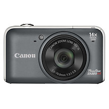 "Buy Canon PowerShot SX220 HS Digital Camera, HD 1080p, 12.1MP, 14x Optical Zoom, 3"" LCD Screen, Grey, Reconditioned Stock From Canon Online at johnlewis.com"