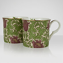 Buy William Morris Anemone Mugs, Green, Box of 2 Online at johnlewis.com