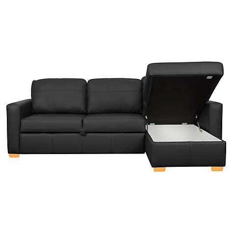 Buy John Lewis Sacha Sofa Bed, Madras Leather / Light Leg Online at johnlewis.com