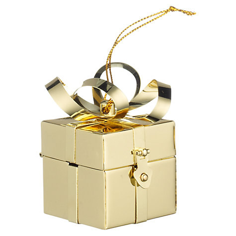 Buy John Lewis Present Box Tree Decoration, Gold Online at johnlewis.com