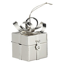 Buy John Lewis Present Box Tree Decoration, Silver Online at johnlewis.com