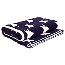 Buy John Lewis Knitted Star Pram Blanket, Navy Online at johnlewis.com