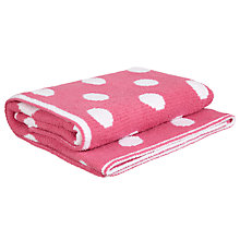 Buy John Lewis Knitted Spot Pram Blanket, Raspberry Online at johnlewis.com