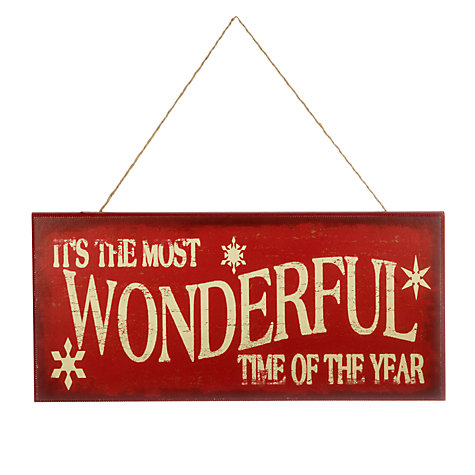 Buy John Lewis Most Wonderful Time Of The Year Christmas Wall Plaque Online at johnlewis.com