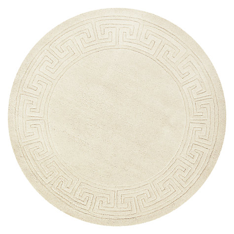 Buy John Lewis Madras Greek Key Rug, Cream, Dia.150cm Online at johnlewis.com