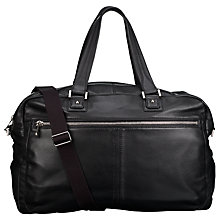 Buy John Lewis Manhattan Leather Holdall, Black Online at johnlewis.com
