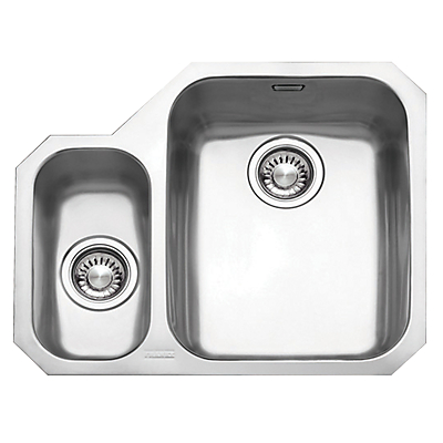 Franke Ariane ARX160 1.5 Sink and Plumbing Kit, Left Hand Small Bowl, Brushed Steel