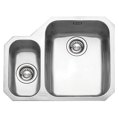 Buy Franke Ariane ARX160 1.5 Sink and Plumbing Kit, Left Hand Small Bowl, Brushed Steel Online at absolutehome.co.uk