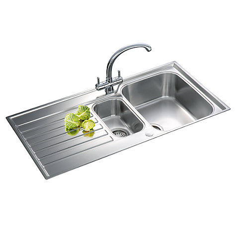 Buy Franke Ascona ASX 651 1.5 Sink with Right Hand Bowl, Silk Steel Online at johnlewis.com