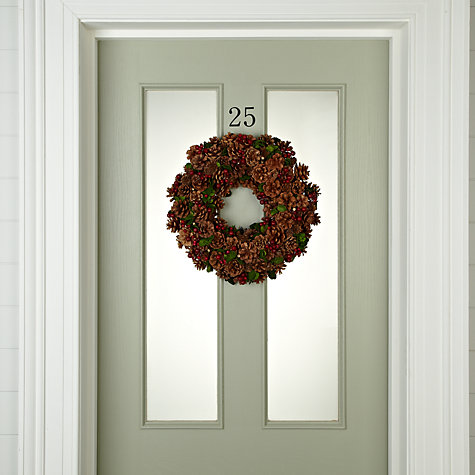 Buy John Lewis Red Berry & Cone Wreath Online at johnlewis.com