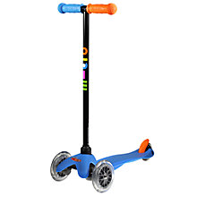 Buy Mini Micro T-Bar Scooter, Neon Blue Online at johnlewis.com