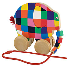 Buy Elmer the Elephant Wooden Pull Along Toy Online at johnlewis.com