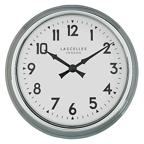 Buy Lascelles Electric Clock, Dia.60cm, Silver Online at johnlewis.com