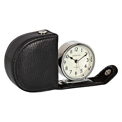 Lascelles Travel Alarm Clock in a Leather Case, Black