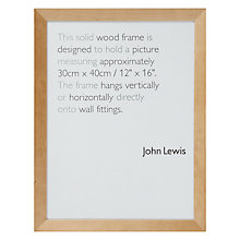 "Buy John Lewis Wall Photo Frame, Birch, 12 x 16"" (30 x 40cm) Online at johnlewis.com"