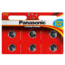 Buy Panasonic CR-2025L/6BP Lithium Coin Batteries, Pack of 6 Online at johnlewis.com